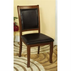 Furniture of America Chek Side Chair in Brown Cherry