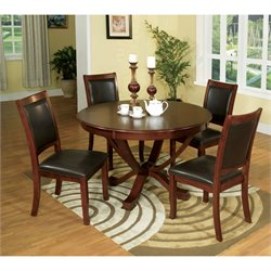 Furniture of America Chek 5 Piece Dining Set in Brown Cherry