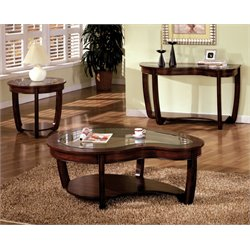 Furniture of America Tunton 3 Piece Glass Top Coffee Table Set