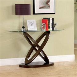 Furniture of America Darbunic Glass Top Console Table in Dark Walnut