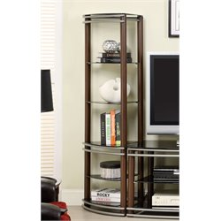 Furniture of America Walsh 5 Shelf Curio Cabinet Cabinet in Brown