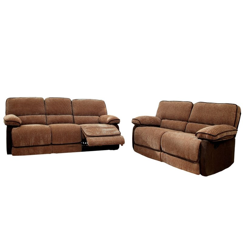 Furniture of america bernard 2 piece sofa set in brown and for Bernard chaise lounge