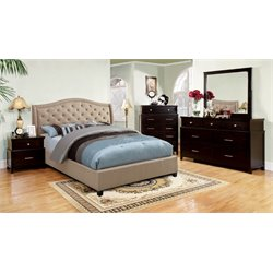 Devans 4 Piece Bedroom Set in Taupe upholstered bed