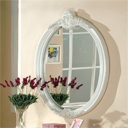 Furniture of America Rollison Oval Mirror in Pearl White