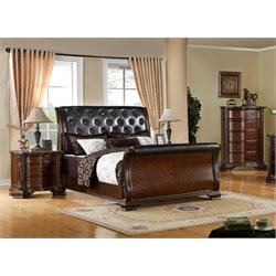 Hulga 3 Piece Bedroom Set in Brown Cherry