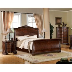 Cliffton 3 Piece Bedroom Set in Brown Cherry