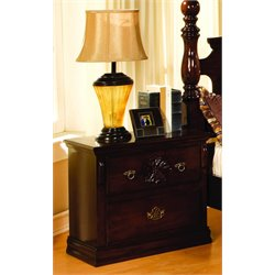 Furniture of America Cathie Nightstand in Glossy Dark Pine