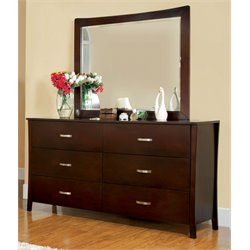 Furniture of America Ownby 6 Drawer Dresser in Brown Cherry