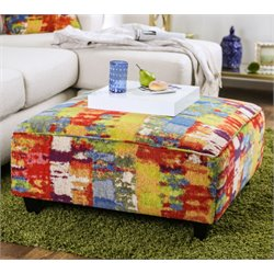 Furniture of America Poe Printed Fabric Ottoman