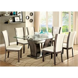 Furniture of America Sampson 7 Piece Dining Set in Gray