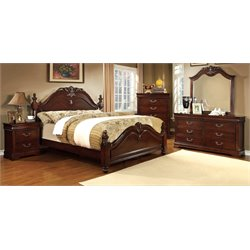 Noren 4 Piece Bedroom Set in Cherry
