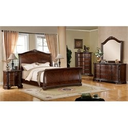 Cliffton 4 Piece Bedroom Set in Brown Cherry