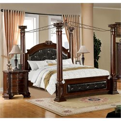 Luxon 2 Piece Bedroom Set in Brown Cherry