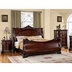 Heffen 3 Piece Bedroom Set in Brown Cherry