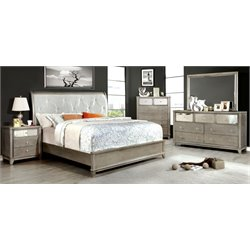 Lilliane 4 Piece Bedroom Set in Silver