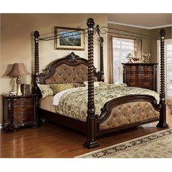Cathey 3 Piece Bedroom Set in Dark walnut with 4 post bed