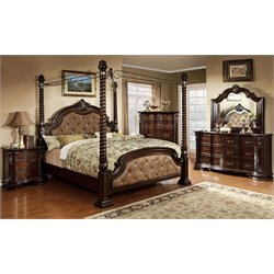 Cathey 4 Piece Bedroom Set in Dark walnut with 4 post bed