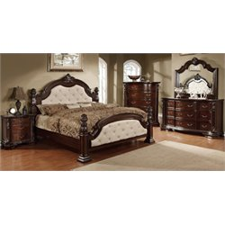 Cathey 4 Piece Bedroom Set in Dark walnut Ivory