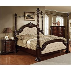 Cathey 3 Piece Bedroom Set in Dark walnut with ivory 4 post bed