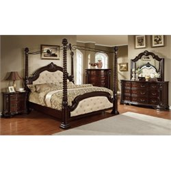 Cathey 4 Piece Bedroom Set in Dark walnut with ivory 4 post bed