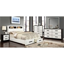 Dimartino 4 Piece Bedroom Set in White and black