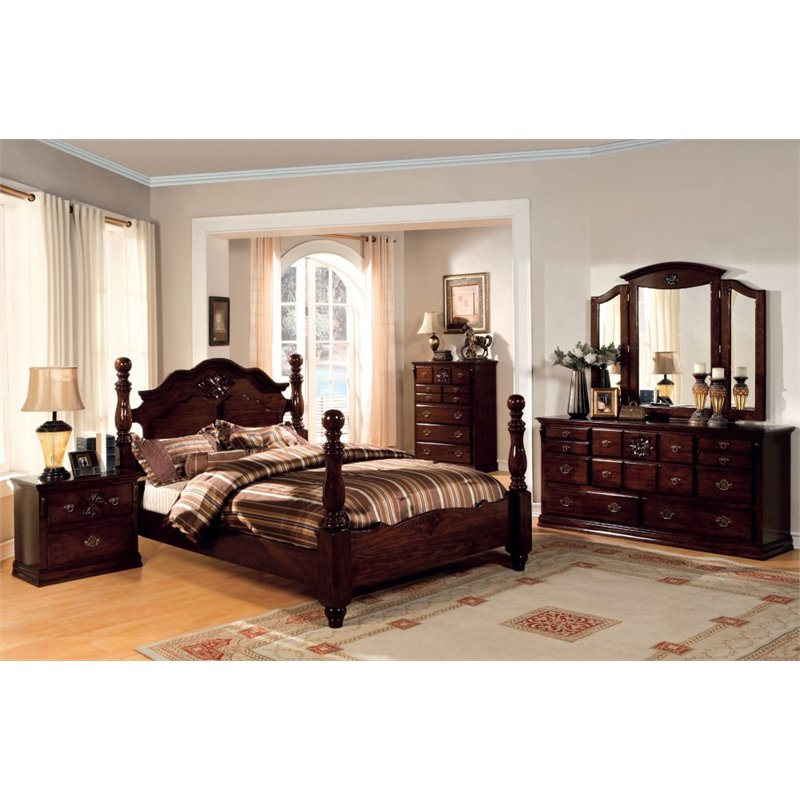 Furniture of america cathie 4 piece queen bedroom set for Bedroom 4 piece set