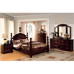 Cathie 4 Piece Bedroom Set in Glossy Dark Pine