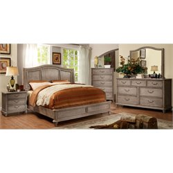 Calpa 4 Piece Bedroom Set in Rustic Grey