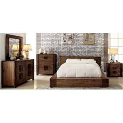 Elbert 4 Piece Bedroom Set in Rustic natural tone 6728