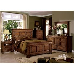 Conway 4 Piece Bedroom Set in Tobacco Oak