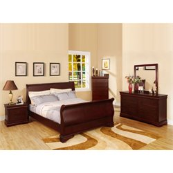 Furniture of America Easley 4 Piece Sleigh Queen Bedroom Set in Cherry