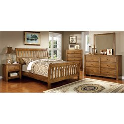 Leanna 4 Piece Bedroom Set in Rustic Oak
