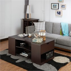 Furniture of America Sima Multi Shelf Coffee Table in Walnut