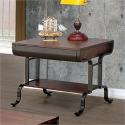 Furniture of America Morton End Table in Antique Oak