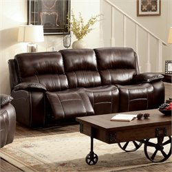 Furniture of America Marta Top Grain Leather Recliner Sofa in Brown