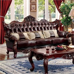 Furniture of America Veliah Sofa in Dark Oak