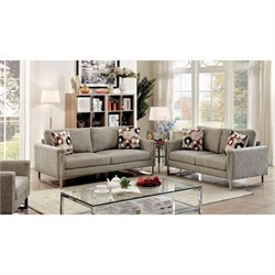 Furniture of America Kamen Chenille Fabric 2 Piece Sofa Set in Pewter