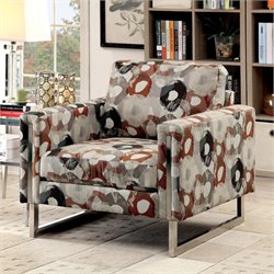 Furniture of America Kamen Printed Chenille Fabric Chair in Pewter