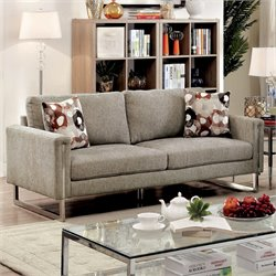 Furniture of America Kamen Chenille Fabric Sofa in Pewter