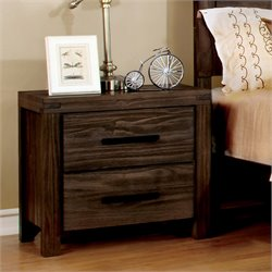 Furniture of America Bahlmer 2 Drawer Nightstand in Dark Gray