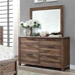 Furniture of America Bickson 6 Drawer Dresser With Mirror