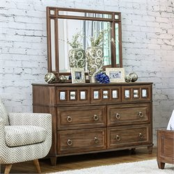 Furniture of America Ezra Mirrored 7 Drawer Dresser With Mirror