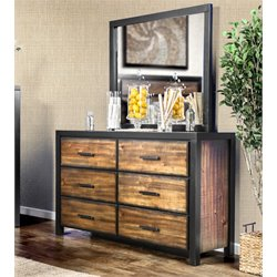 Furniture of America Idina 6 Drawer Dresser With Mirror