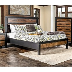 Idina Bed in Black/Oak