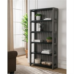 Furniture of America Iman 5 Shelf Bookcase in Dark Gray and Black