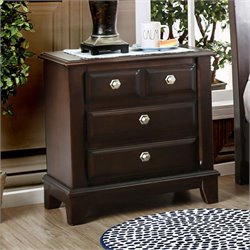Furniture of America Glinda 3 Drawer Nightstand in Brown Cherry