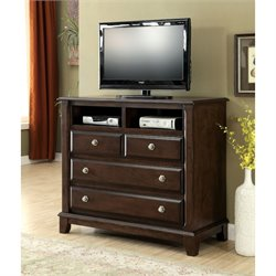 Furniture of America Glinda Media Chest in Brown Cherry