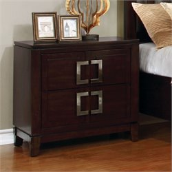 Furniture of America Shanda 2 Drawer Nightstand in Brown Cherry