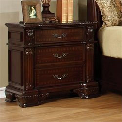 Furniture of America Darnell 3 Drawer Nightstand in Brown Cherry