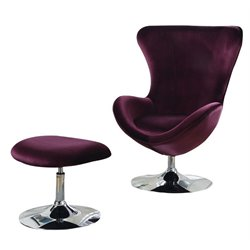Furniture of America Cora Accent Chair and Ottoman Set in Purple